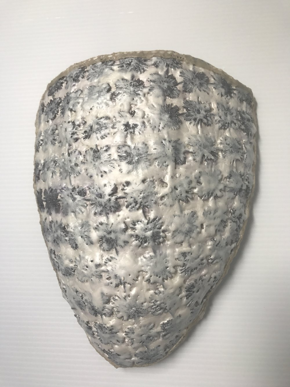 Shield, fiber, paper, encaustic, 10 x 8 x 3 inches, 2017