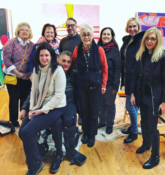This is an image of the residency group at a studio visit with the amazing painter Katherine Bradford - such a thrill to hear about her work in person