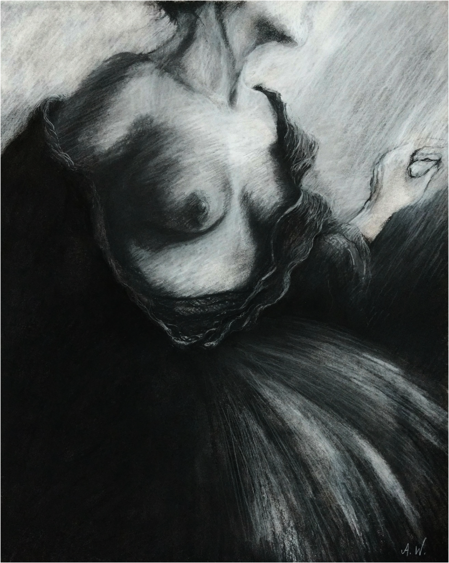 Strip Tease #7 , Charcoal on Paper,11''x 14''.png