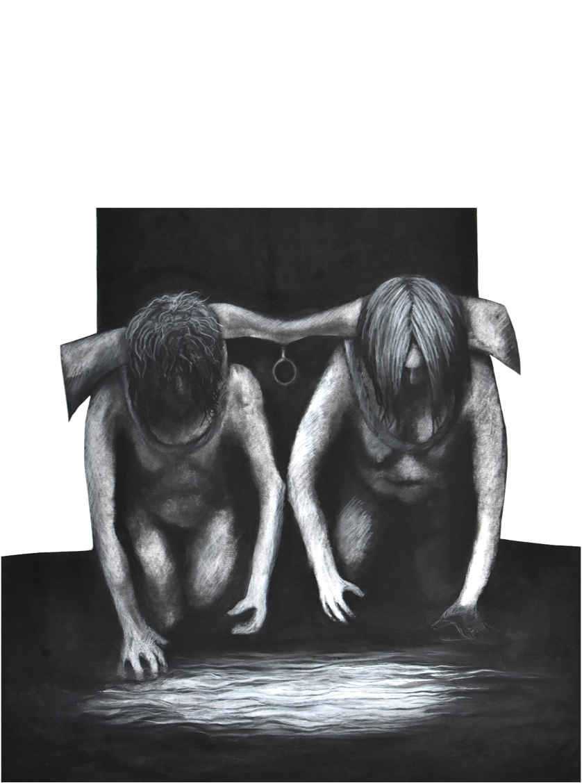 Yoked Alice , Charcoal on Paper, 24''x 30''.png