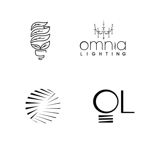 Various logo types and extended collateral created for the fictitious company, Omnia Lighting, an environmentally friendly lighting brand.