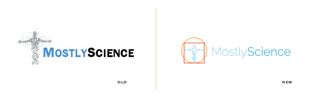 A rebrand of Mostly Science's logo - an online science blog written and curated by scientists and students.