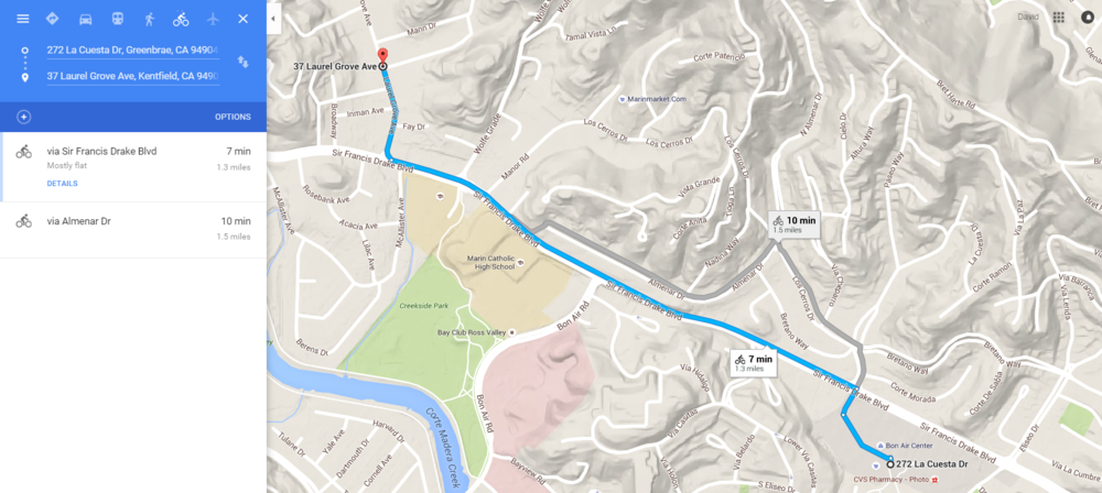 A 7 minute trip to Peet's by bike