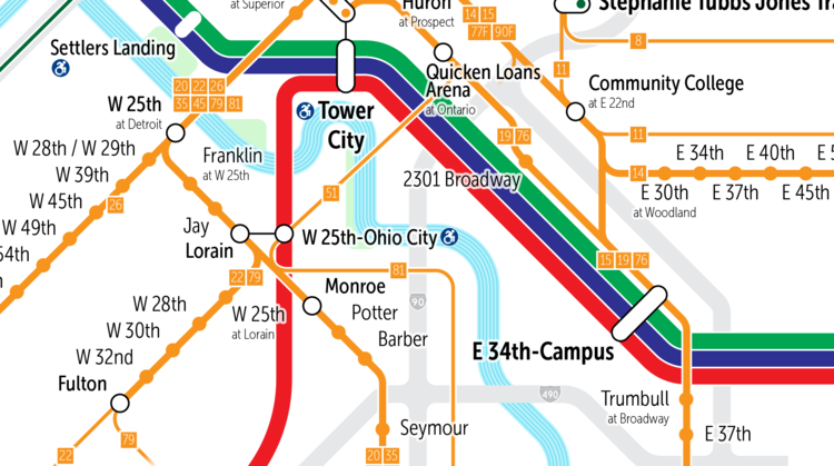 Cleveland's Rapid and Frequent Bus Map — The Greater Marin on