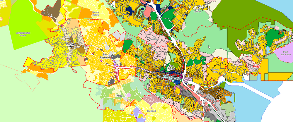 Some of Central Marin's zoning and general plan areas. These might actually be worth a damn someday. Image from MarinMaps.