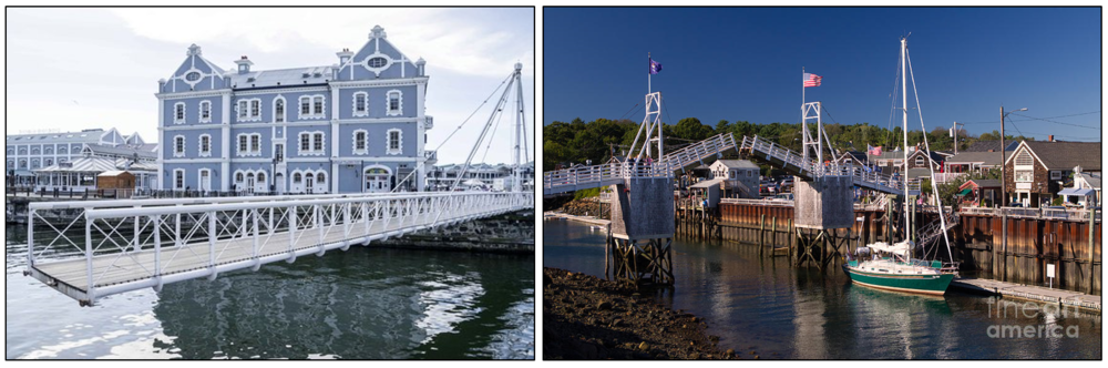 Left: A swing bridge in Cape Town, South Africa. Right: A pedestrian drawbridge in Ogunquit, Maine. Image Credits:   TripAdvisor,  Victoria & Alfred Waterfront  .  Fornarotto,  Perkins Cove Ogunquit Maine  .