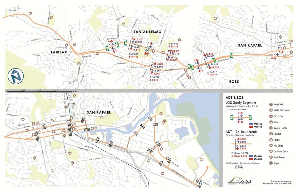 Image source: Nelson\Nygaard Consulting Associates, Inc.  'Fairfax-San Rafael Transit Corridor Feasibility Study' .