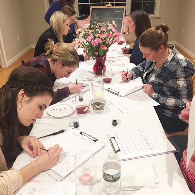 LOVED hosting a workshop last night with the ever talented @meganfahycalligraphy. Seriously...these women caught on SO quickly!