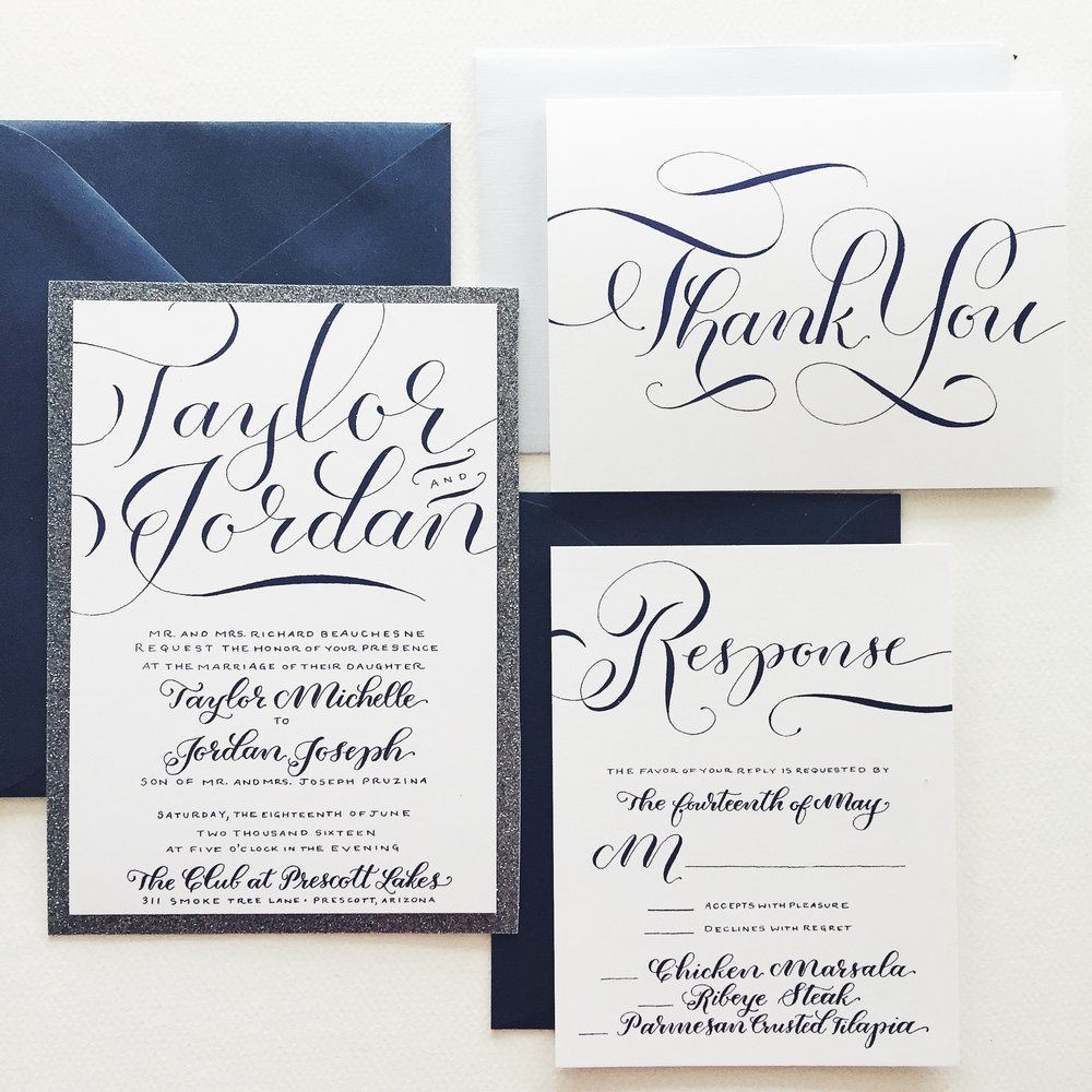 Blue and Silver Custom Hand-Lettered Wedding Invitation Suite ...