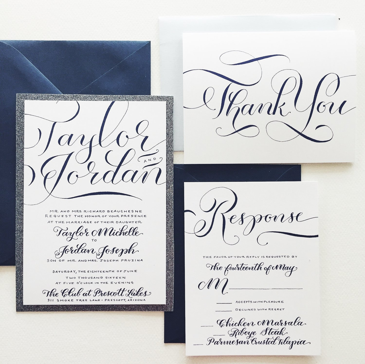 blue and silver custom hand-lettered wedding invitation suite, Wedding invitations