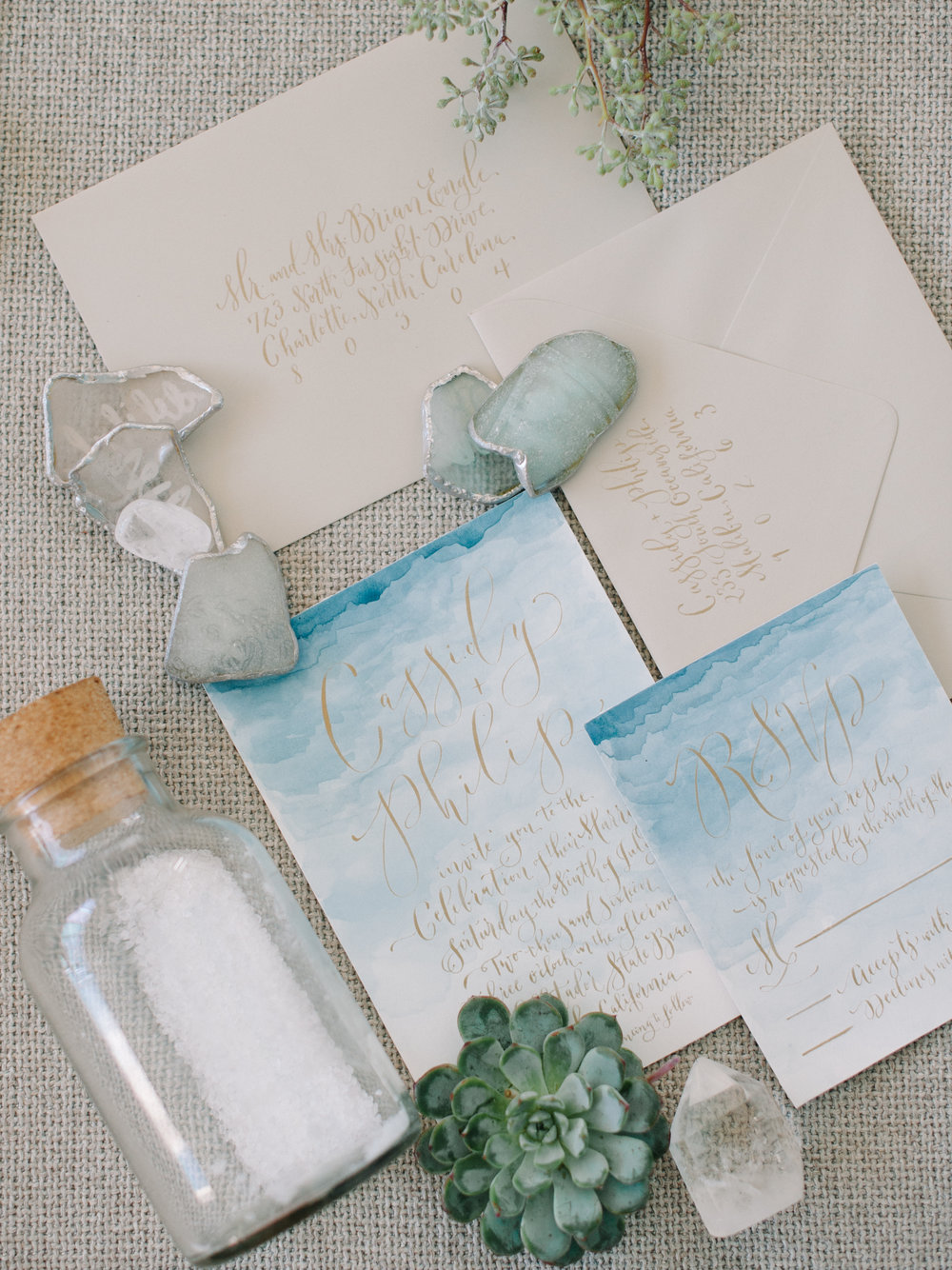 Blue Watercolor Custom Wedding Invitation Suite and Sign — Brush ...