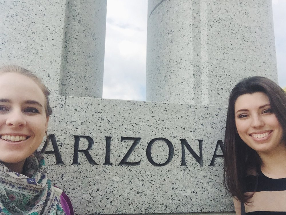 A Picture of us in front of the Arizona pillar at the National Mall.