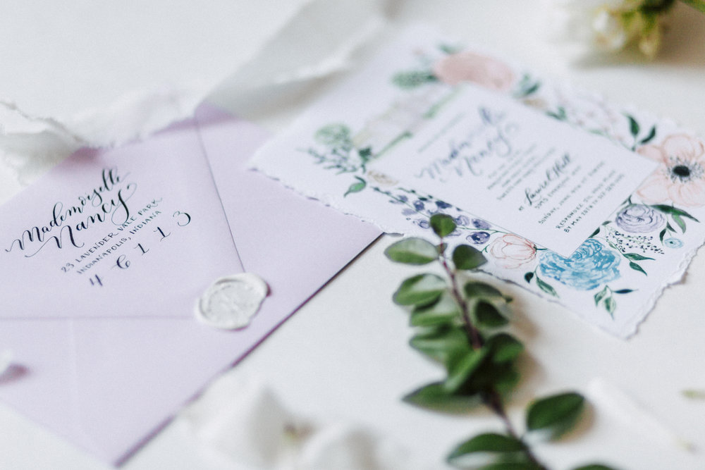 French and garden inspired custom hand-painted and hand-lettered bridal shower invitation.