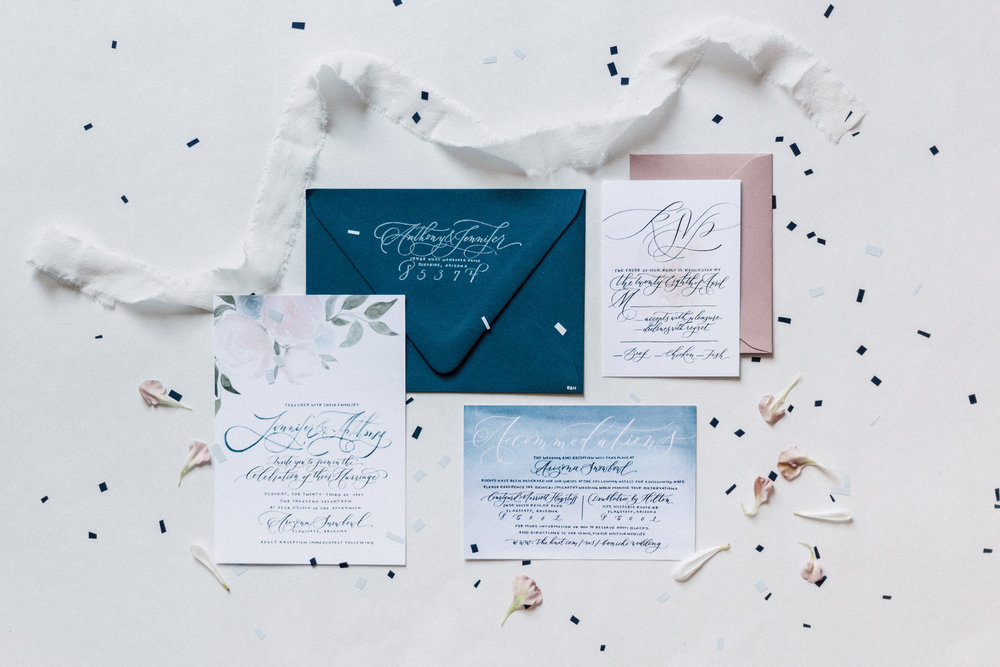 Floral summer wedding inspired custom hand-painted and hand-lettered wedding invitation suite.