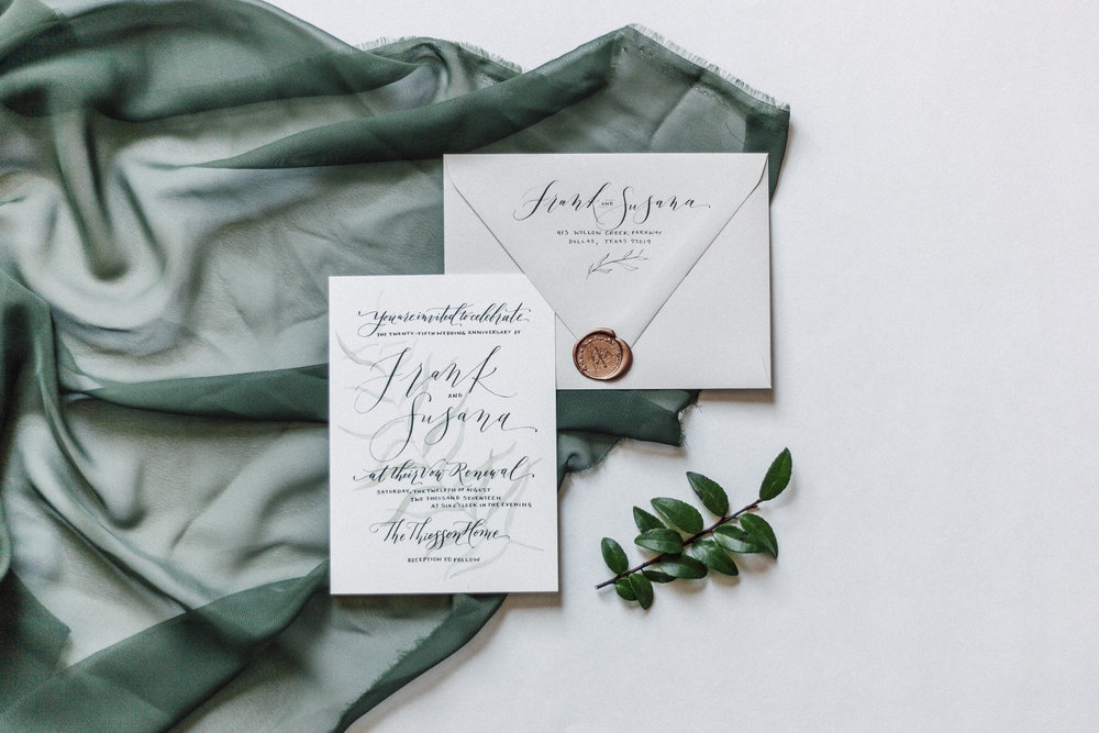 Simple and elegant custom hand-painted and hand-lettered invitation for a backyard vow renewal.