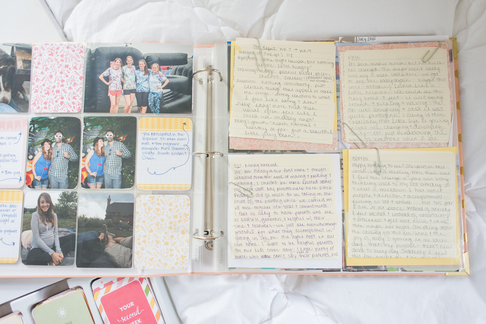 I use the wide, square pocket pages to attach my journal entries from pregnancy. I knew keeping them in the book for her to read some day would be so special and way easier that keeping track of a little notebook.