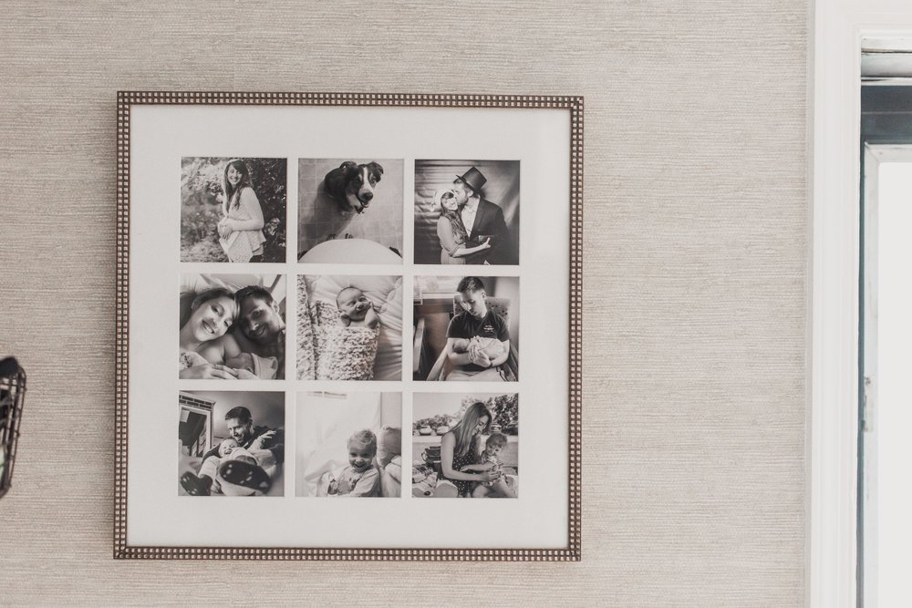 Our personal storyteller frame, styled in our front entryway - Silver Audrey frame with all black and white photos