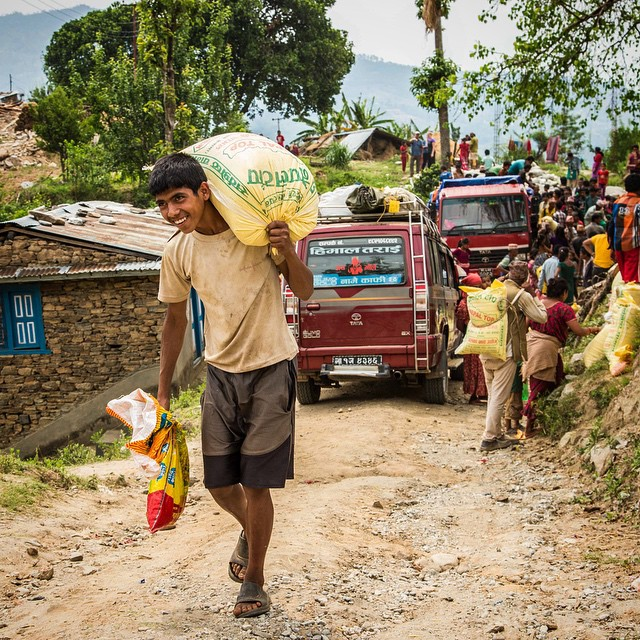 The village of Dhakalthol, in the Sindhupalchok region, received 3 tons of rice and lentils funded by #tseringsfund donors. 100% of the homes here have been devastated along with the mental states of those who experienced such a traumatic event. In addition to physical relief, the sharing of hope with the people in this region brightened their faces for even just a short time while they work towards recovering from this tragedy. #Nepal #nepalphotoproject #nepalearthquake