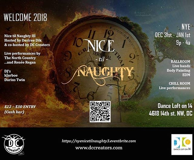 Ring in the new year with a dance party AND art! Wander rooms featuring The North Country, Renée Regan, DJ's and Body Painting by DC Creators, hosted by Desiree Dik. All proceeds benefit performing arts programs at the Dance Loft! Tickets on Sale Now at https://nyenicetilnaughty3.eventbrite.com
