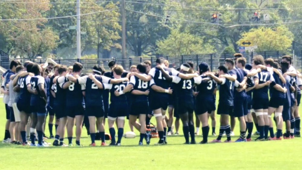 THE YALE RUGBY PLAYERS AFTER THE FINAL WHISTLE LAST SATURDAY