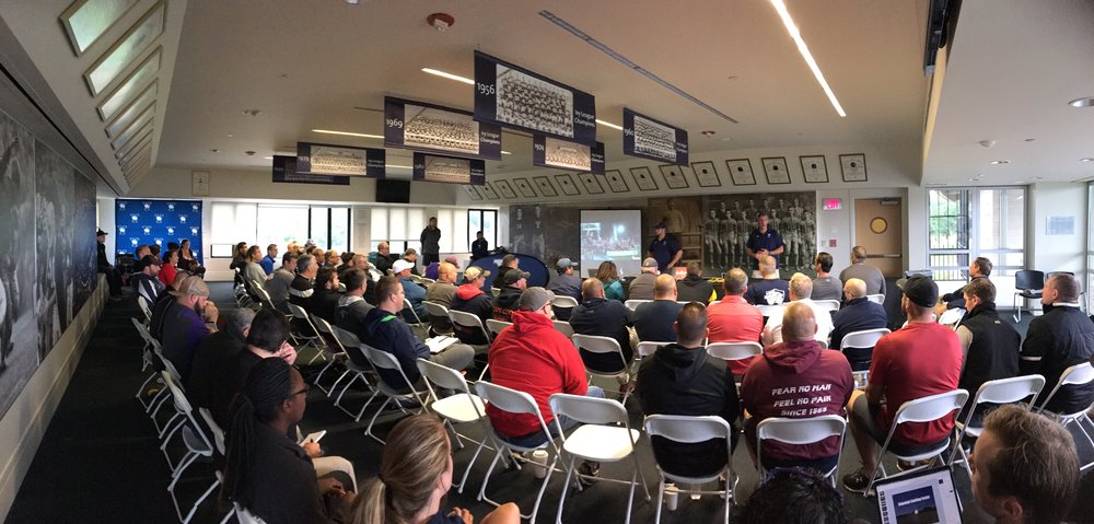 Yale rugby captain, joe goode, welcomes the coaches to yale university.