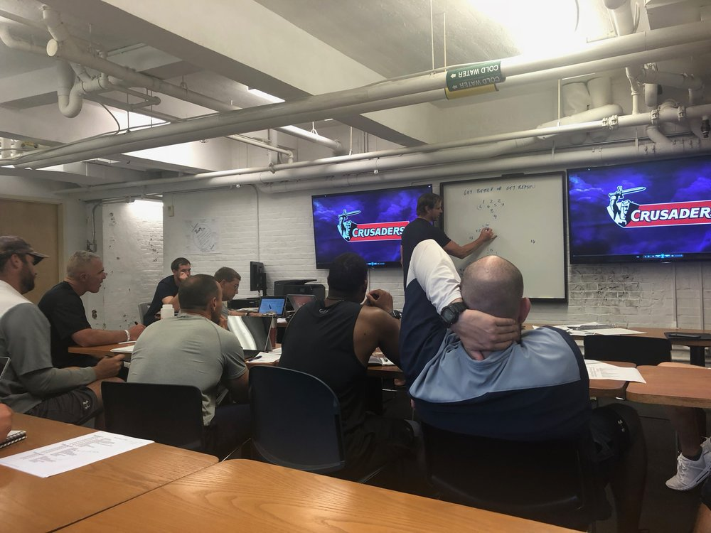 Scott, collaberating with the Yale University football staff