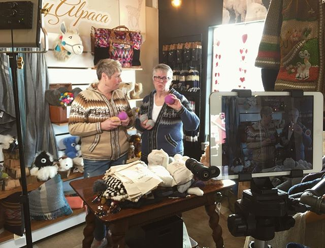 BTS of our new #gabwithshabby videos coming soon to the NEW SITE!! You guys- we are dying to share all of our new stuff!!! @whitespecs thanks for all your help!  @emporiumcr thanks for keeping the music off for us for a few minutes 😘  #shabby #weekendersweater #weekender #emporium #shopshabby #alpacalove #alpacalover #alpacas