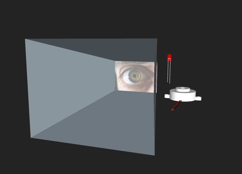 Prototype for early design:  the user looks into a distorted 2-way mirror to see his/her own eyes.
