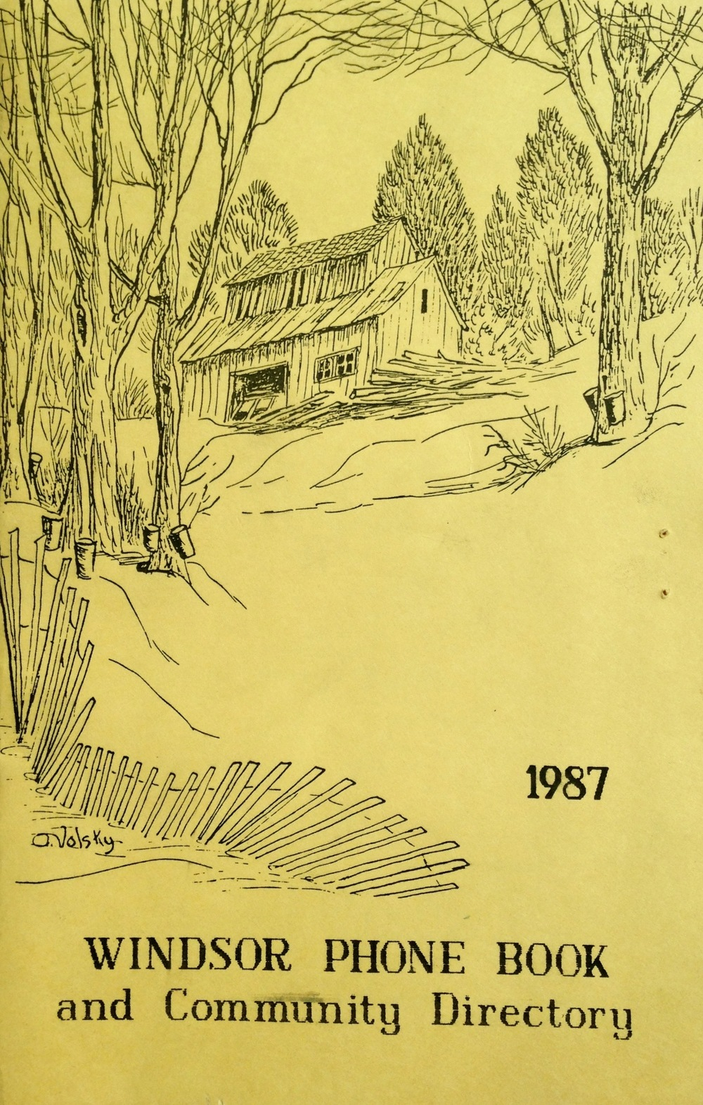 Inaugural Windsor Phone Book, 1987                          Cover art by Olive Volsky