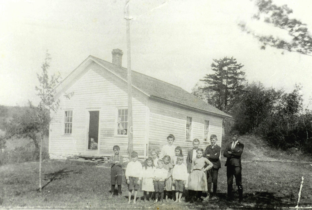 "Another image from Bush School, showing the fondly remembered ""little white schoolhouse"" near Windsor Jambs."