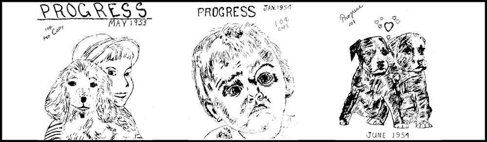 A selection of cover illustrations from Progress, the monthly newsletter of the East Windsor Progressive Club