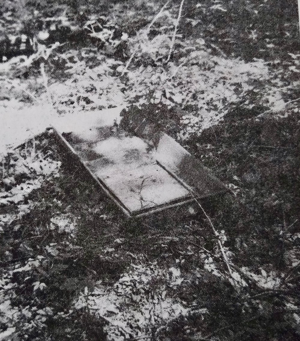 Milk House Sink on grounds of former Butter Bates Homestead (undated) [Photo from Bernard Drew's  A History of Notchview,  published in 1986]
