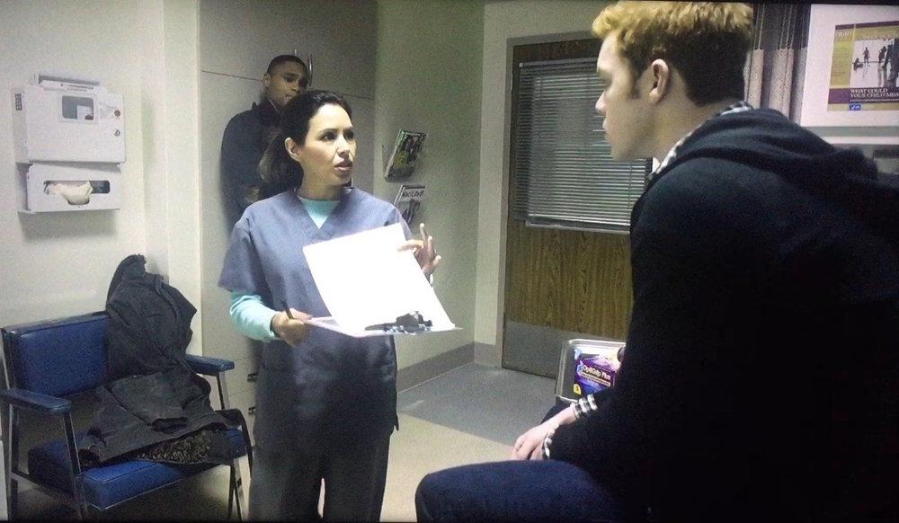 Showtime's 'Shameless' season 6. Nurse Edmonds (Kikey Castillo)with Cameron Monaghan