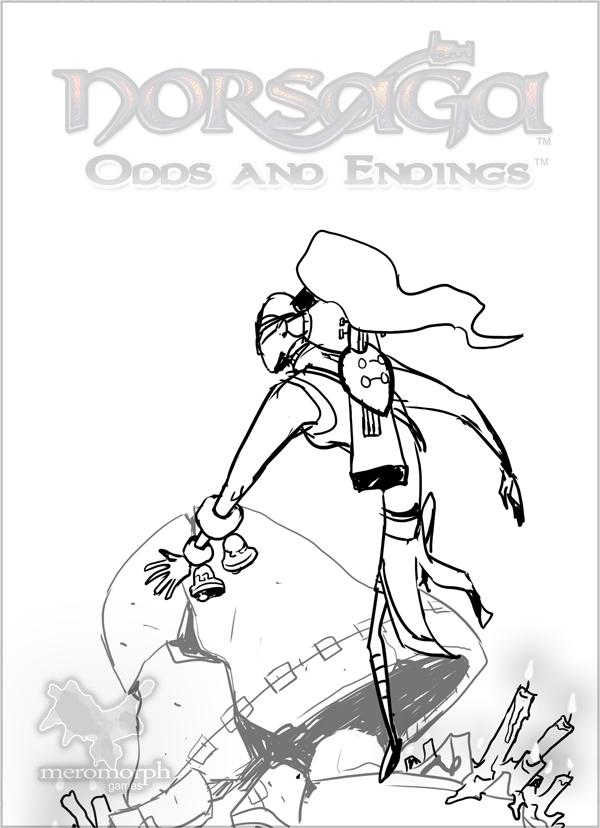 Second boxart sketch, featuring broken bell. Point-of-view angle has been lowered slightly.