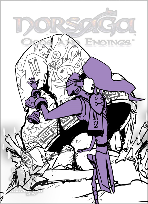 Third boxart sketch, refactoring the previous elements to focus on the bell.