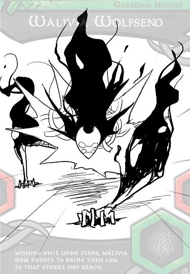 """Final Donwen """"shadow beast"""" monster form lineart."""