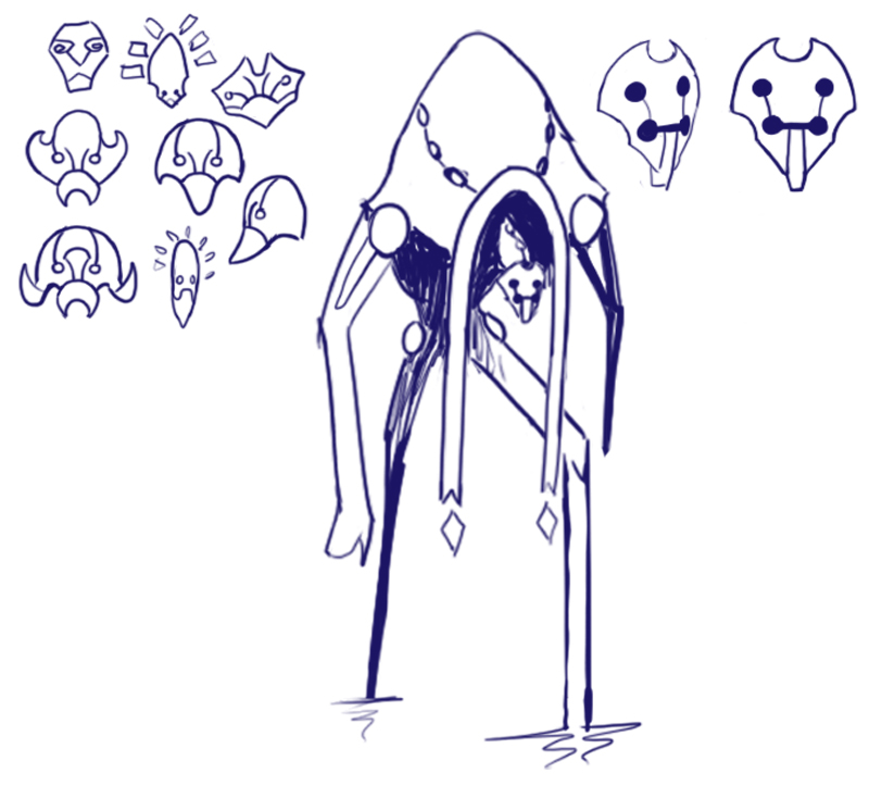 Final concept art for Skade, showing mask exploration and final mask design.