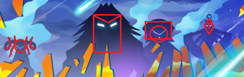 God mask silhouettes. From left: Herne (circle), Dunlevy (rectangle), Norwife (mix), Ragna (diamond).