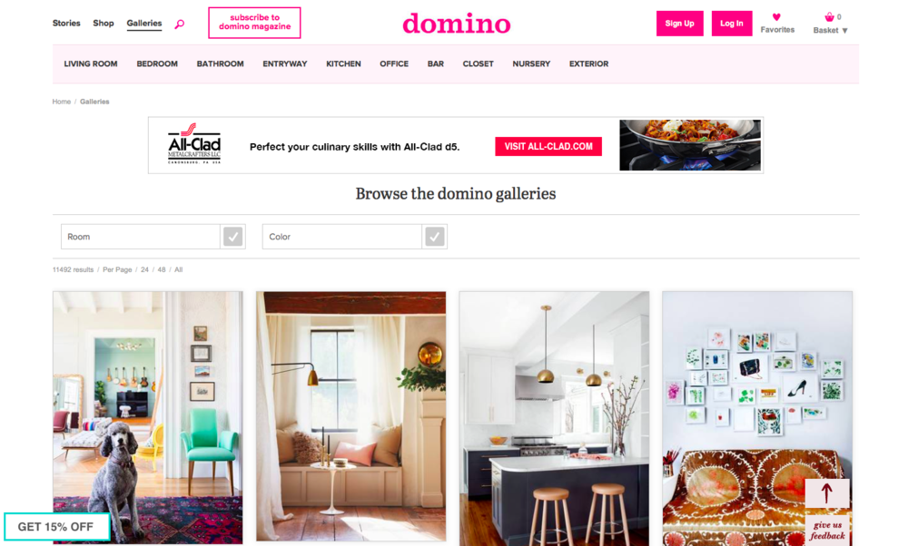 Domino Magazine Galleries: can search by room or color