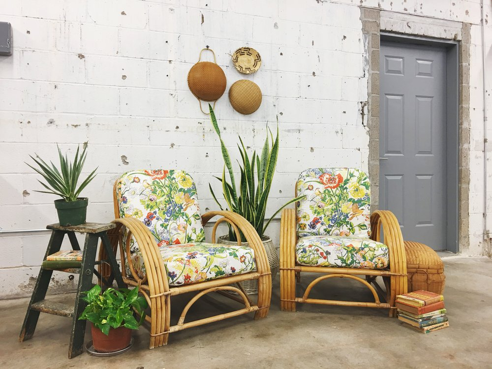 vintage rattan chairs reupholstered floral