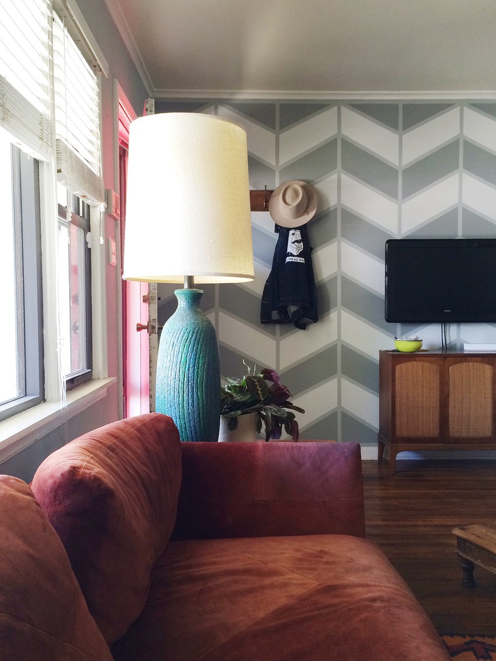 Chevron patterned wall