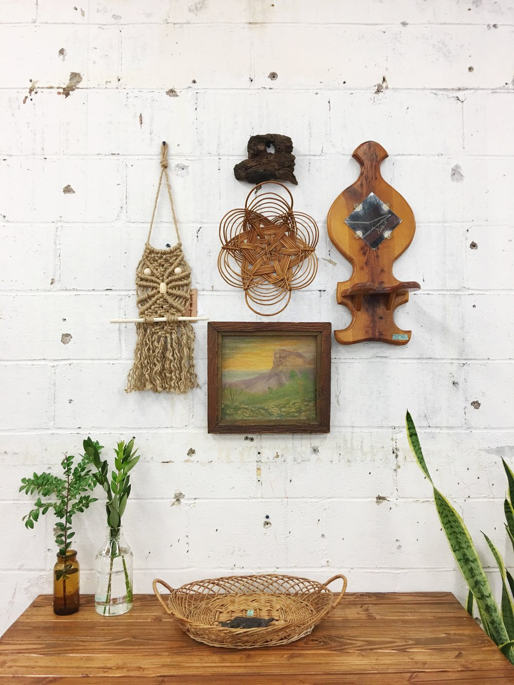 vintage objects on gallery wall