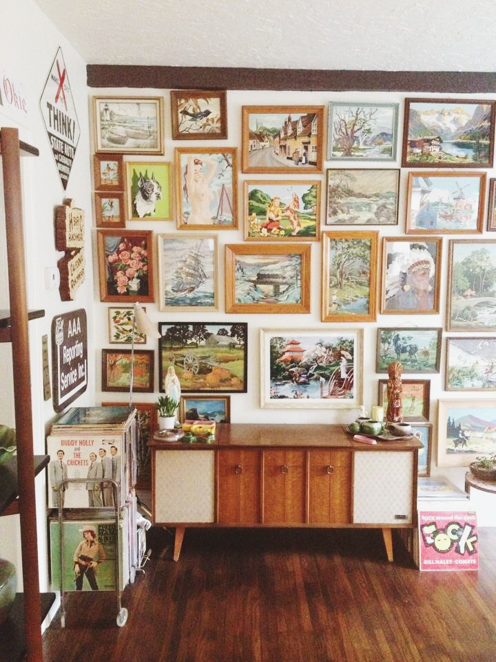 Our dear customers' collection of vintage paint by number artwork. Now that's a gallery wall. See the post we originally featured them in  here .