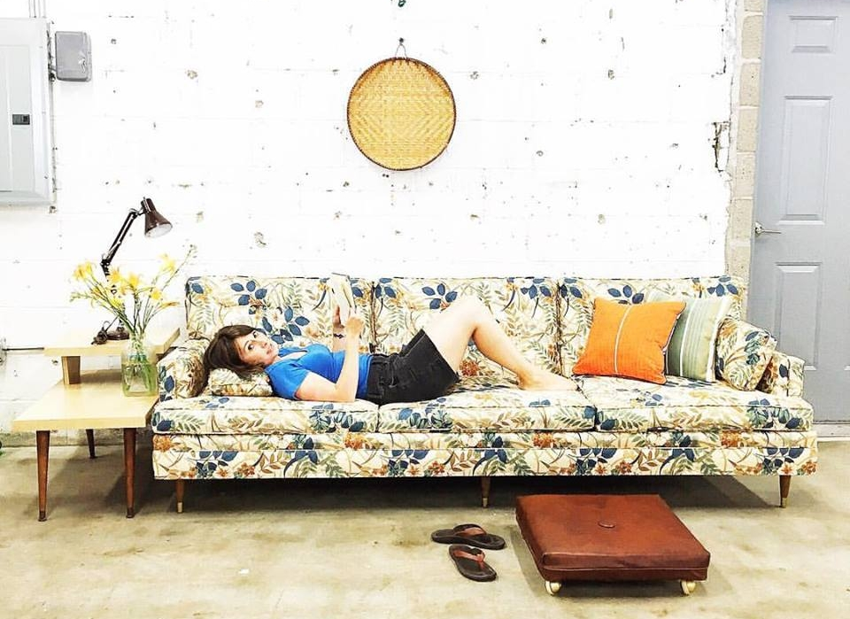 Palmer relaxed on this pretty vintage floral sofa on her 32nd birthday before it made its way to one of our  most favorite client's homes.