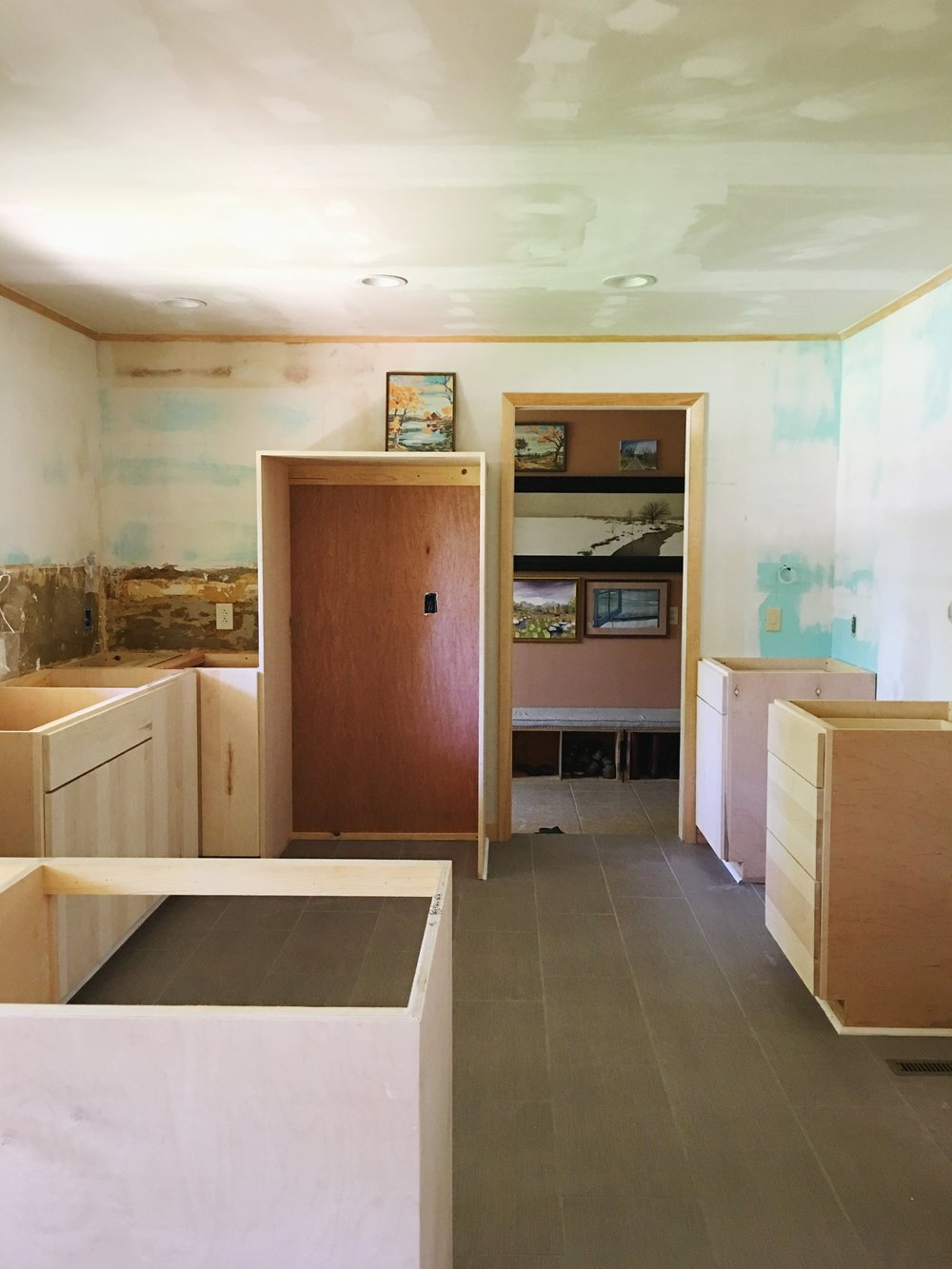 Palmer's kitchen  is about to be painted a bold color! Eeek!