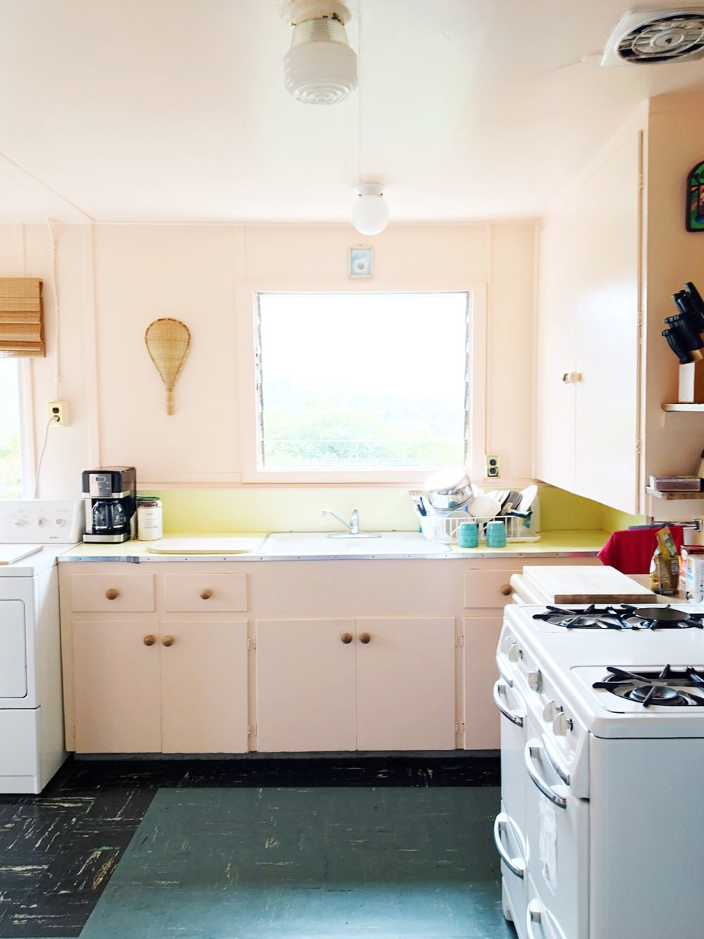 She was inspired in part by this blush kitchen in a  CA Airbnb  she stayed in last summer.