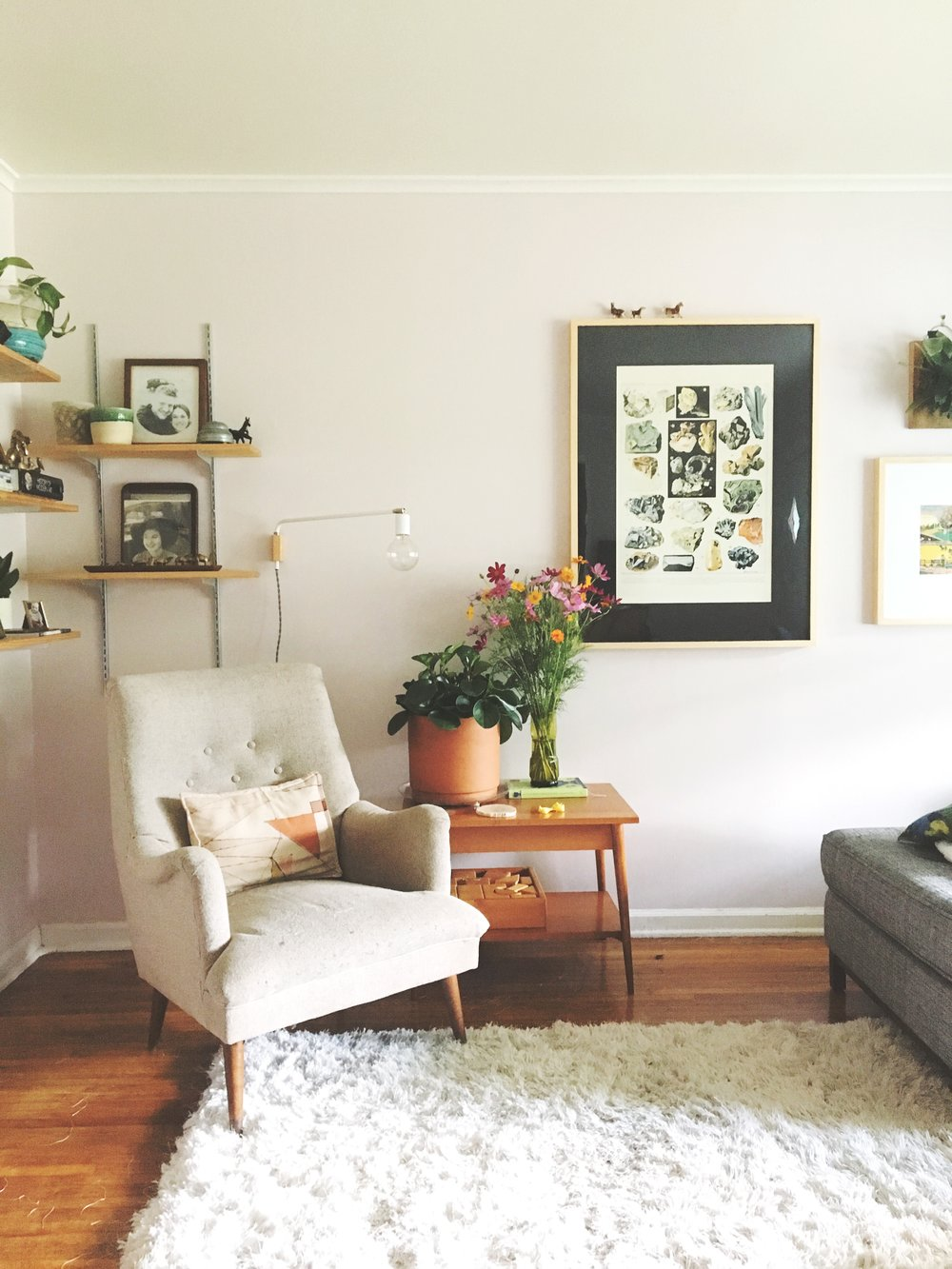 This week Daly painted the remaining three walls of her living room blush. Pretty!