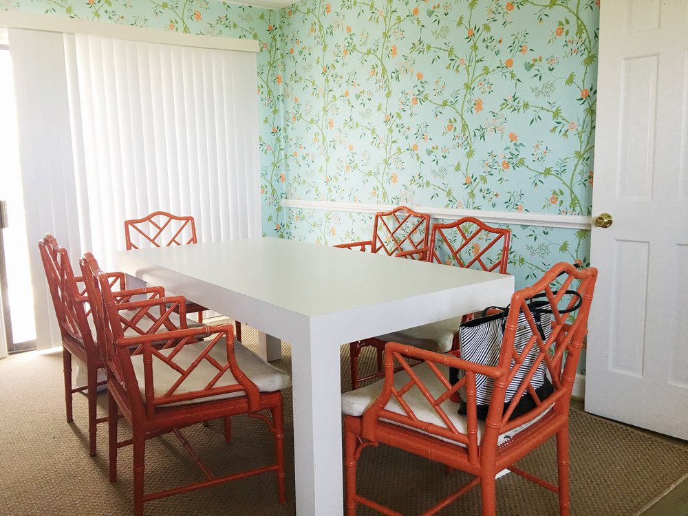 vintage rattan beach house dining