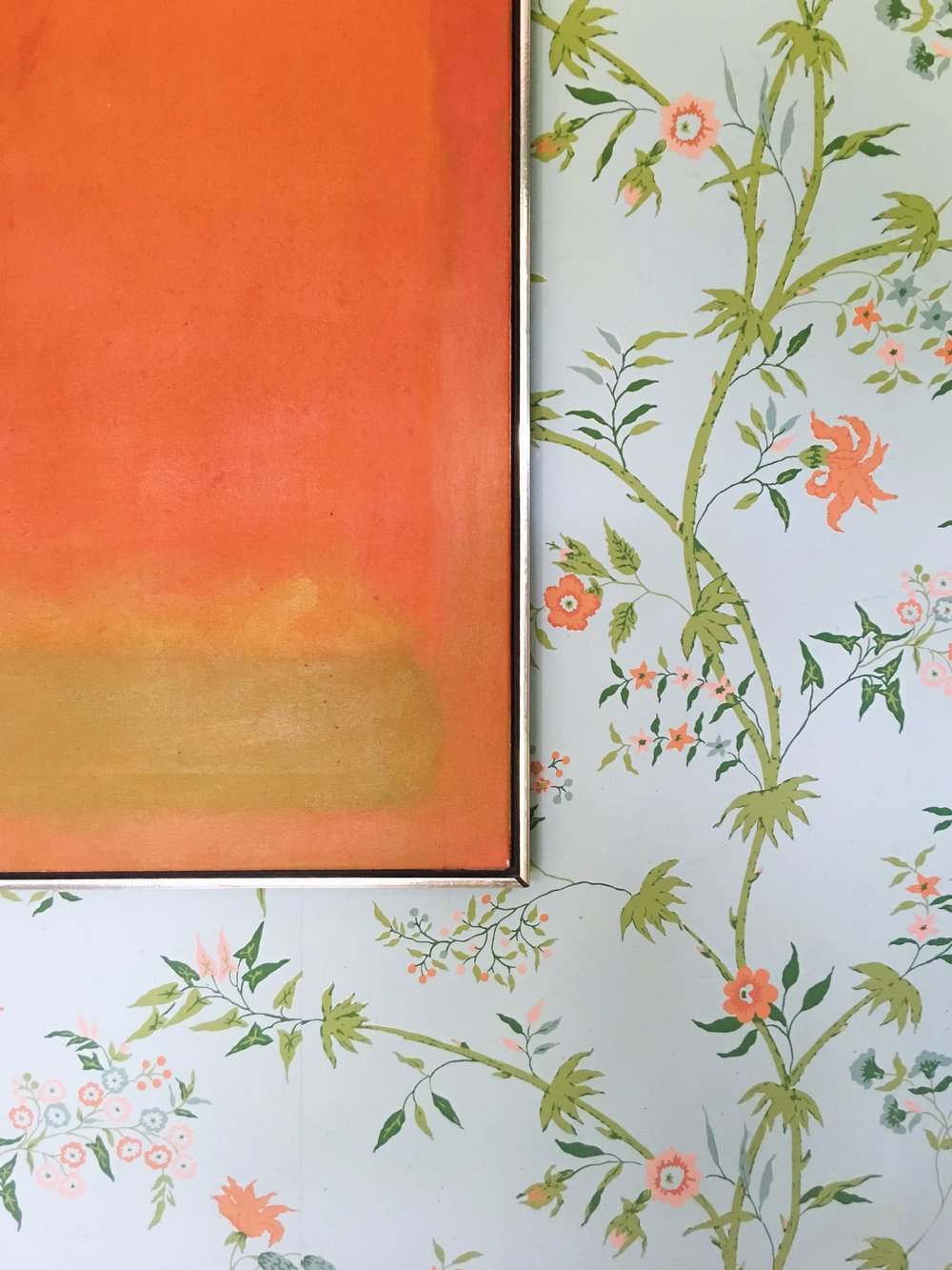 modern art + floral wallpaper