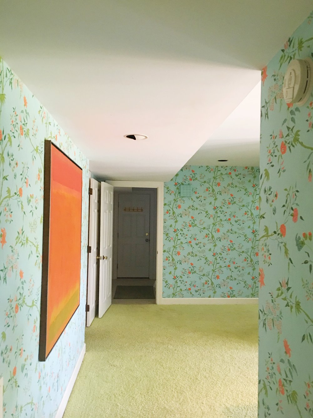 vintage beach house floral wallpaper +modern art